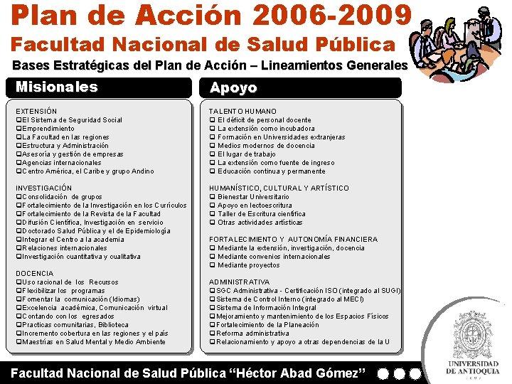 Plan de Acción 2006 -2009 Facultad Nacional de Salud Pública Bases Estratégicas del Plan
