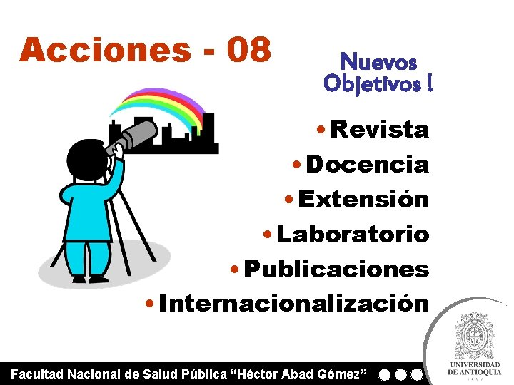 Acciones - 08 Nuevos Objetivos ! • Revista • Docencia • Extensión • Laboratorio