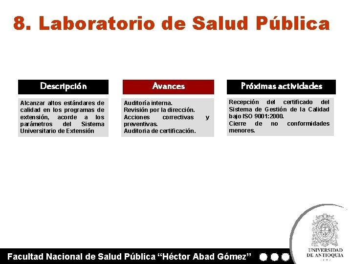 8. Laboratorio de Salud Pública Descripción Alcanzar altos estándares de calidad en los programas