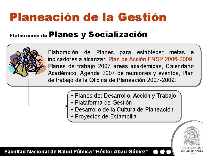 Planeación de la Gestión Elaboración de Planes y Socialización Elaboración de Planes para establecer