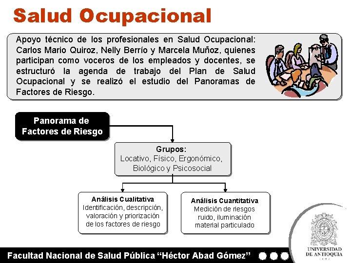 Salud Ocupacional Apoyo técnico de los profesionales en Salud Ocupacional: Carlos Mario Quiroz, Nelly