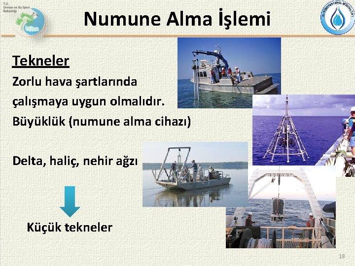 Numune Alma İşlemi Tekneler Zorlu hava şartlarında çalışmaya uygun olmalıdır. Büyüklük (numune alma cihazı)