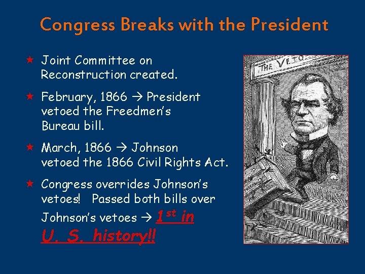 Congress Breaks with the President « Joint Committee on Reconstruction created. « February, 1866