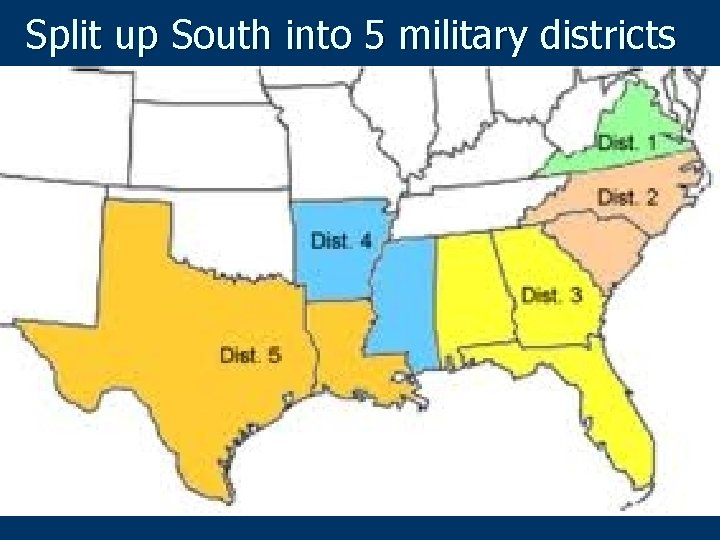 Split up South into 5 military districts