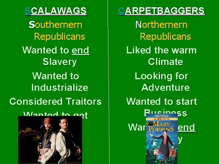 SCALAWAGS Southernern Republicans Wanted to end Slavery Wanted to Industrialize Considered Traitors Wanted to