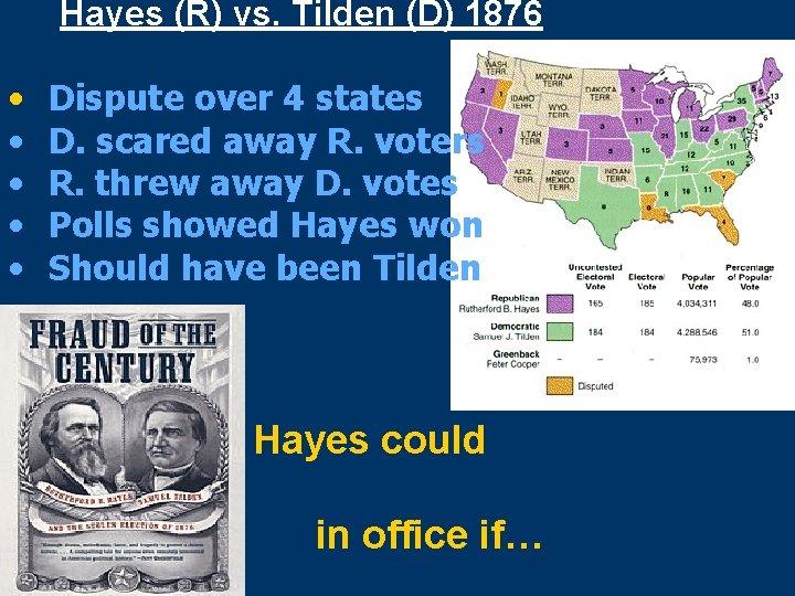 Hayes (R) vs. Tilden (D) 1876 • • • Dispute over 4 states D.
