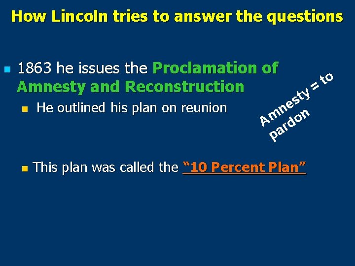 How Lincoln tries to answer the questions n 1863 he issues the Proclamation of