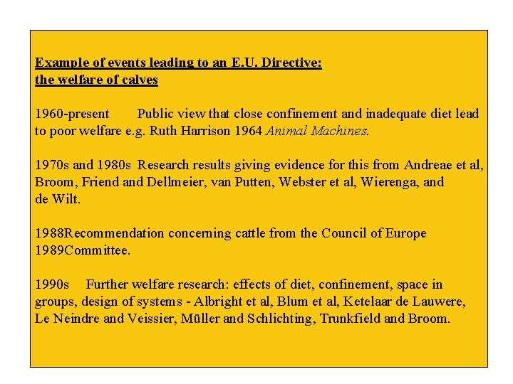 Example of events leading to an E. U. Directive: the welfare of calves 1960