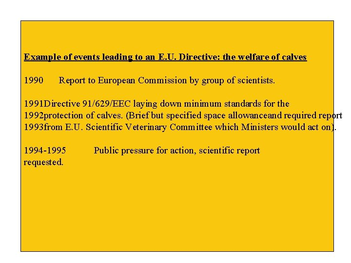 Example of events leading to an E. U. Directive: the welfare of calves 1990