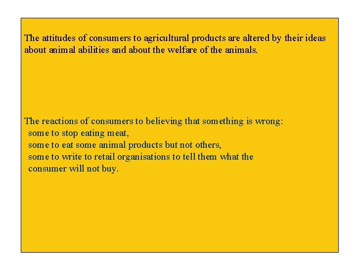 The attitudes of consumers to agricultural products are altered by their ideas about animal