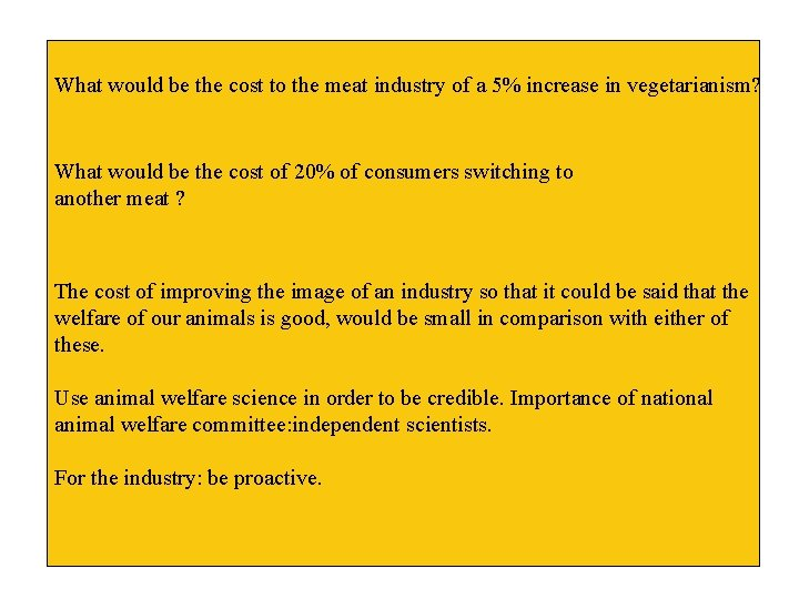 What would be the cost to the meat industry of a 5% increase in