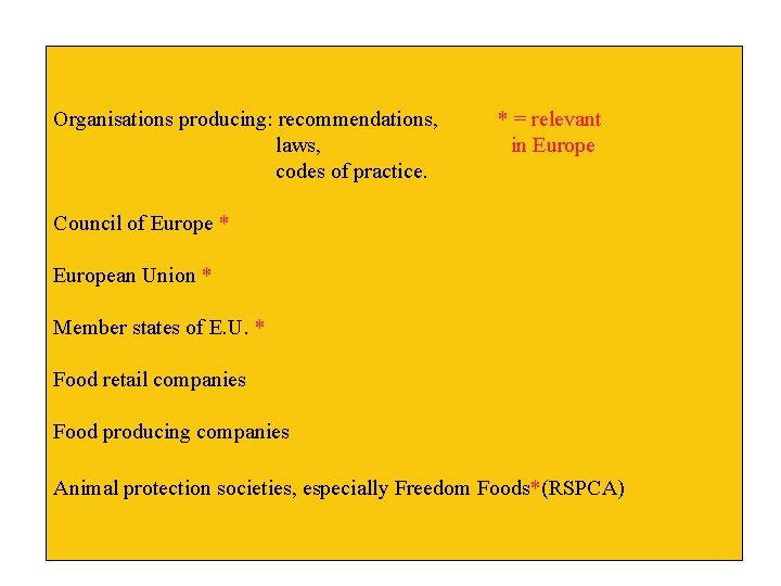 Organisations producing: recommendations, laws, codes of practice. * = relevant in Europe Council of