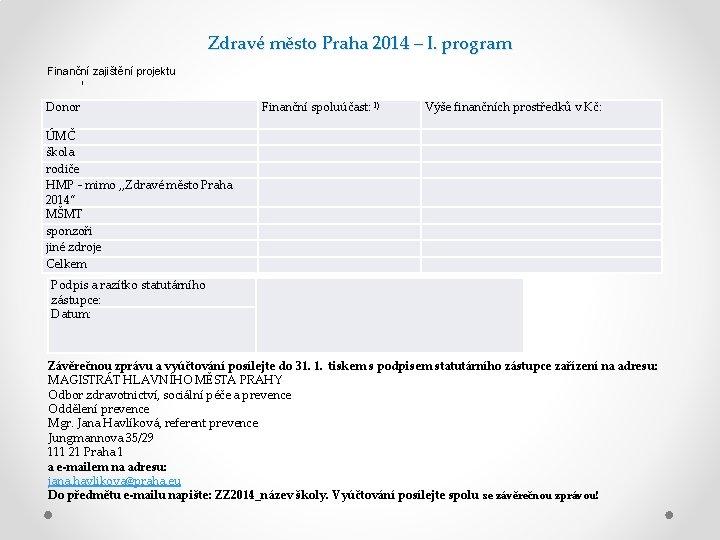 Zdravé město Praha 2014 – I. program Finanční zajištění projektu I Donor Finanční spoluúčast: