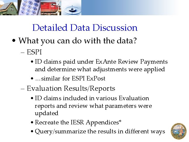 Detailed Data Discussion • What you can do with the data? – ESPI •