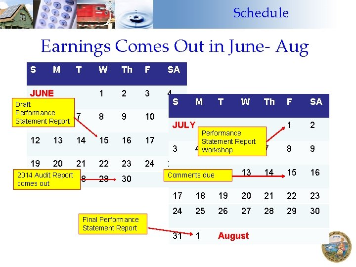 Schedule Earnings Comes Out in June- Aug S M T JUNE Draft Performance 5