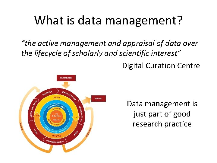 """What is data management? """"the active management and appraisal of data over the lifecycle"""