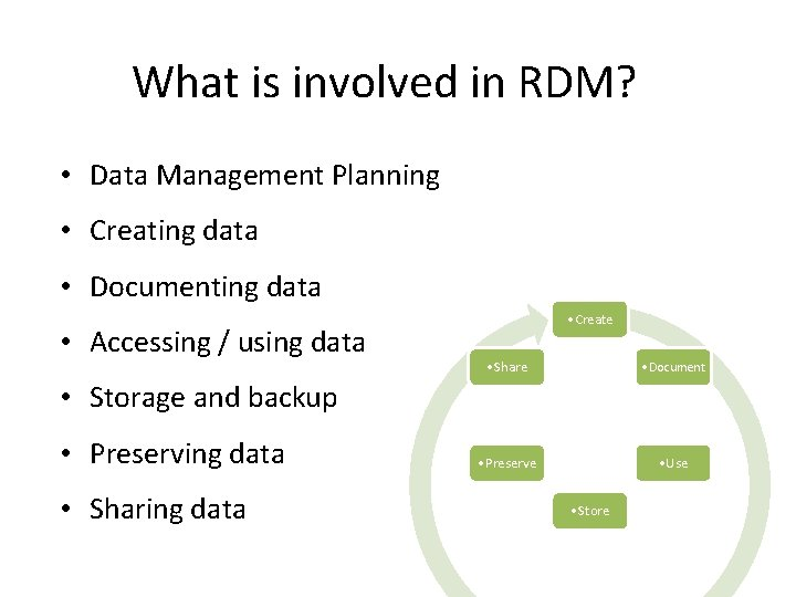 What is involved in RDM? • Data Management Planning • Creating data • Documenting