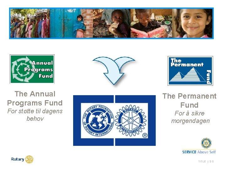 The Annual Programs Fund For støtte til dagens behov The Permanent Fund For å
