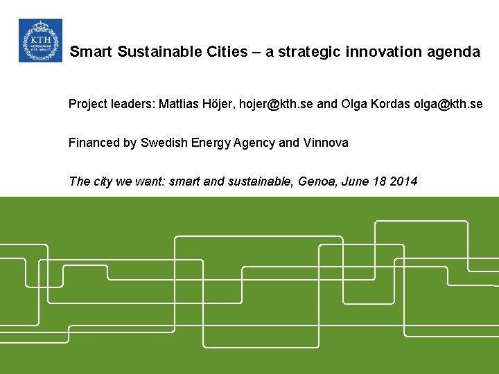 Smart Sustainable Cities – a strategic innovation agenda Project leaders: Mattias Höjer, hojer@kth. se
