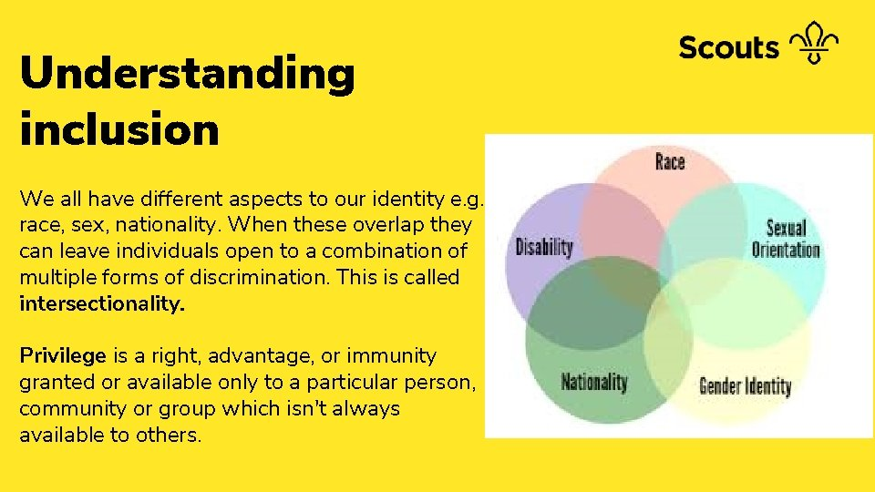 Understanding inclusion We all have different aspects to our identity e. g. race, sex,