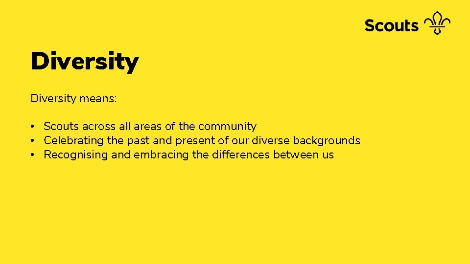 Diversity means: • Scouts across all areas of the community • Celebrating the past