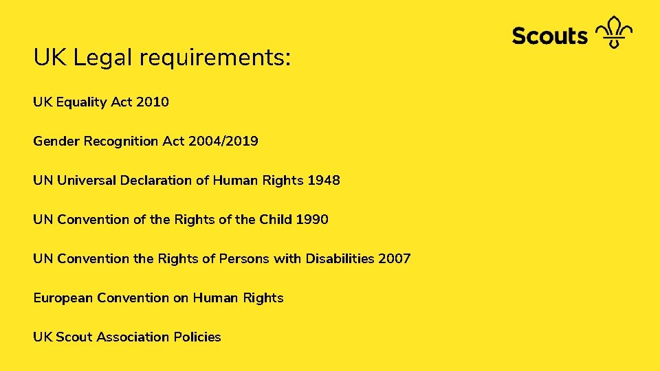 UK Legal requirements: UK Equality Act 2010 Gender Recognition Act 2004/2019 UN Universal Declaration