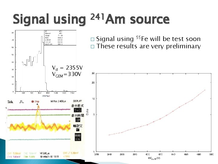 Signal using 241 Am source Signal using 55 Fe will be test soon �