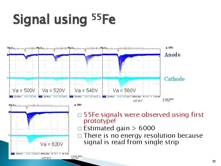 Signal using 55 Fe Anode Cathode Va = 500 V Va = 520 V