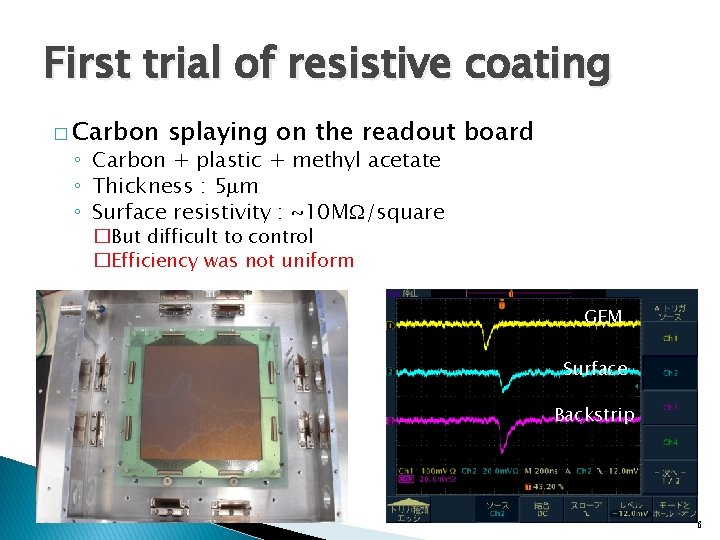 First trial of resistive coating � Carbon splaying on the readout board ◦ Carbon