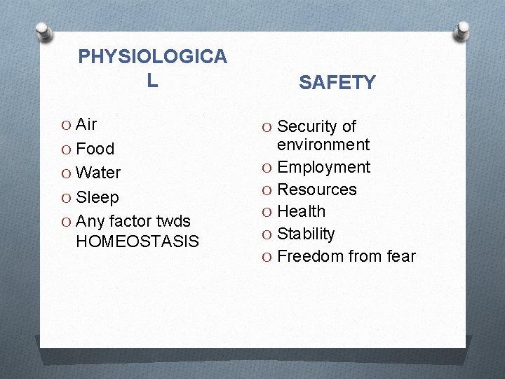 PHYSIOLOGICA L O Air O Food O Water O Sleep O Any factor twds