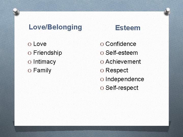Love/Belonging Esteem O Love O Confidence O Friendship O Self-esteem O Intimacy O Achievement