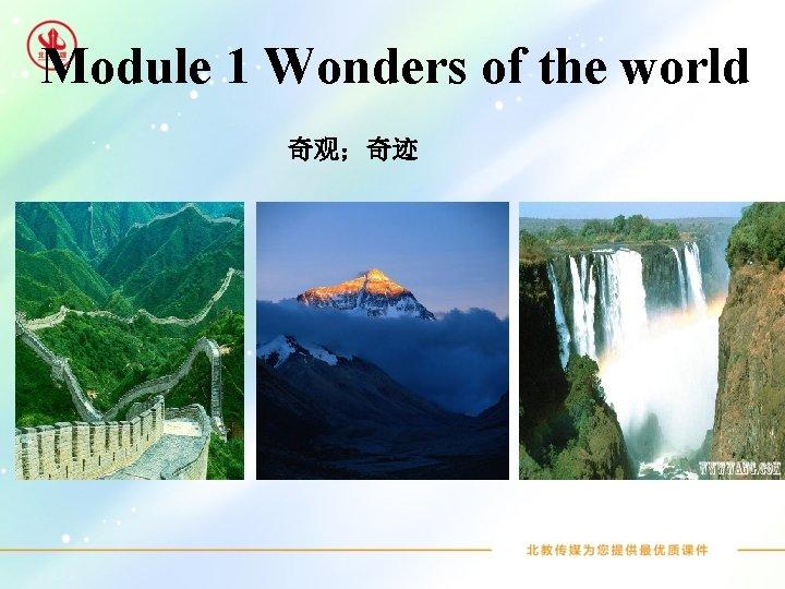 Module 1 Wonders of the world 奇观;奇迹