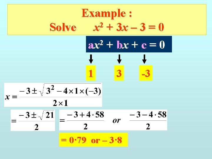 Example : Solve x 2 + 3 x – 3 = 0 ax 2