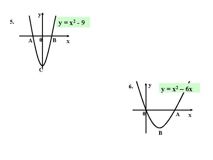 y 5. y = x 2 - 9 A 0 B x C y