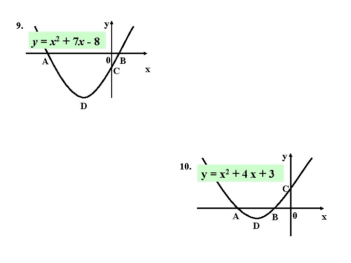 y 9. y = x 2 + 7 x - 8 0 B C