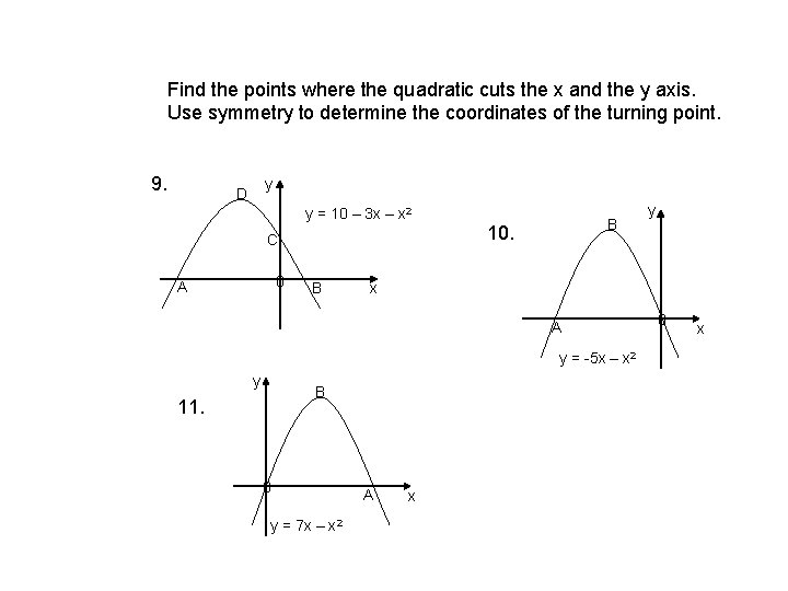 Find the points where the quadratic cuts the x and the y axis. Use