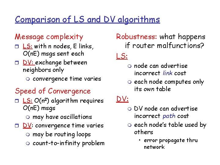 Comparison of LS and DV algorithms Message complexity r LS: with n nodes, E