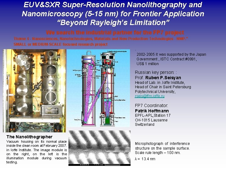 """EUV&SXR Super-Resolution Nanolithography and Nanomicroscopy (5 -15 nm) for Frontier Application """"Beyond Rayleigh's Limitation"""""""