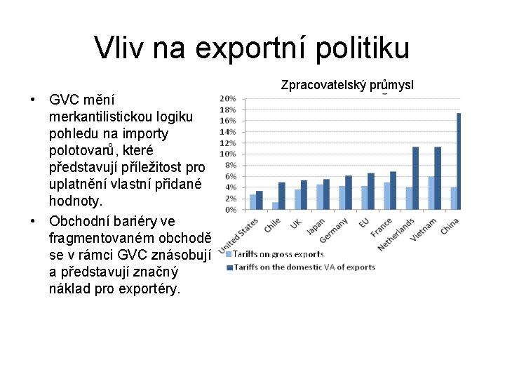 Vliv na exportní politiku • GVC mění merkantilistickou logiku pohledu na importy polotovarů, které