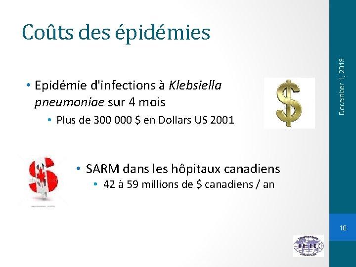 • Epidémie d'infections à Klebsiella pneumoniae sur 4 mois • Plus de 300