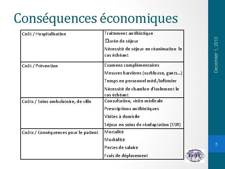 Conséquences économiques Traitement antibiotique � Durée de séjour Nécessité de séjour en réanimation le