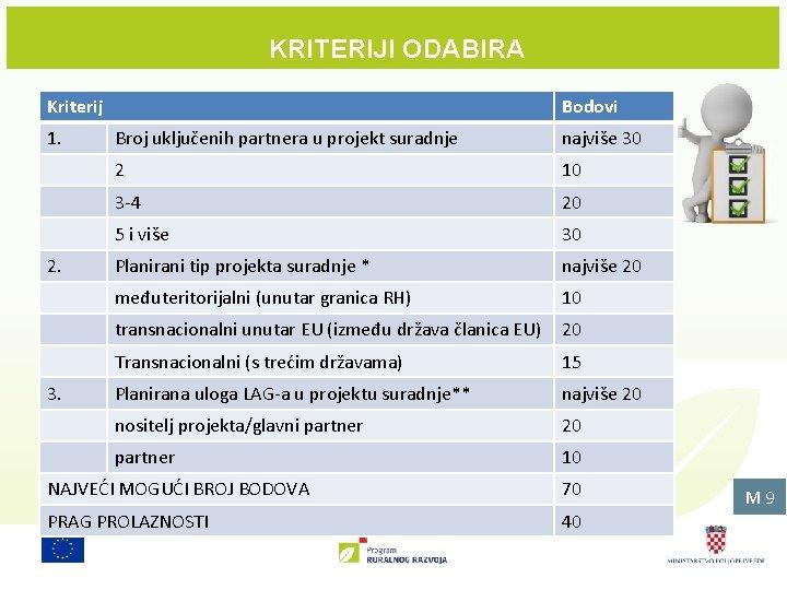 KRITERIJI ODABIRA Kriterij 1. 2. 3. Bodovi Broj uključenih partnera u projekt suradnje najviše