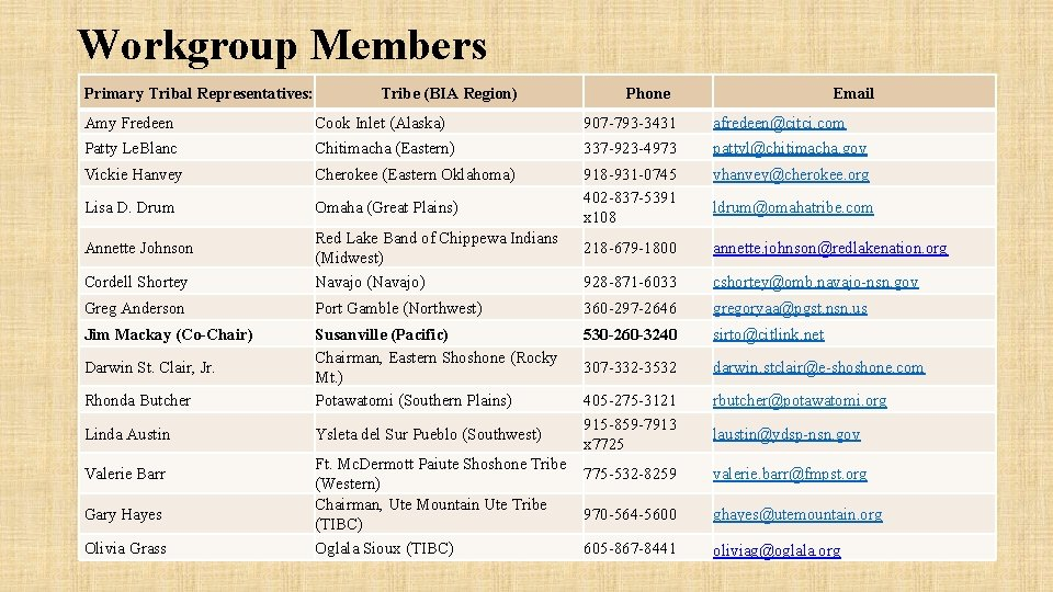 Workgroup Members Primary Tribal Representatives: Tribe (BIA Region) Phone Email Amy Fredeen Cook Inlet