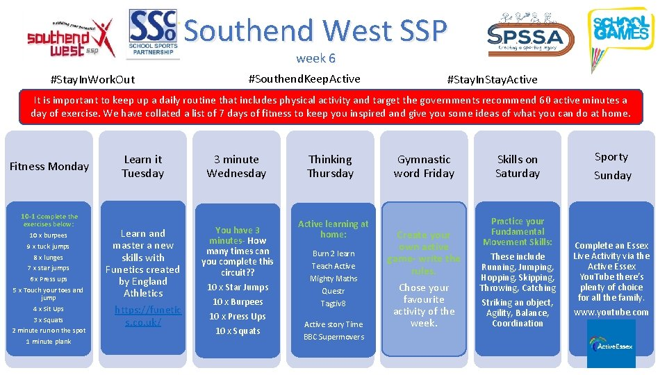 Southend West SSP week 6 #Stay. In. Work. Out #Southend. Keep. Active #Stay. In.
