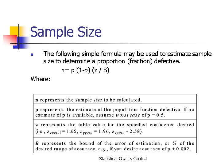 Sample Size The following simple formula may be used to estimate sample size to