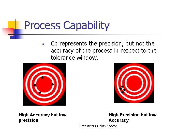 Process Capability n Cp represents the precision, but not the accuracy of the process