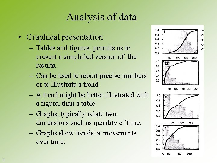 Analysis of data • Graphical presentation – Tables and figures; permits us to present