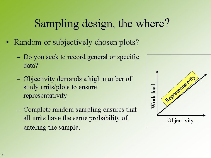 Sampling design, the where? • Random or subjectively chosen plots? – Objectivity demands a
