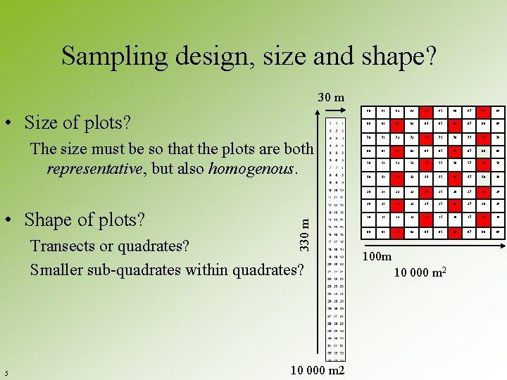 Sampling design, size and shape? 30 m • Size of plots? • Shape of