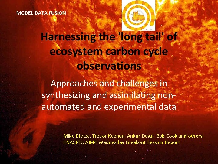 MODEL-DATA FUSION Harnessing the 'long tail' of ecosystem carbon cycle observations Approaches and challenges